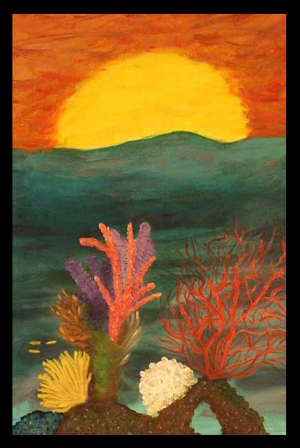 Sunset on Corals acrylic painting 20x30
